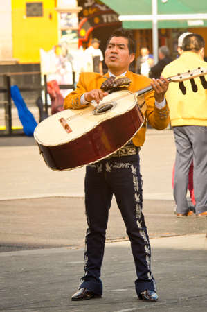 Mexico City - December 03, 2016 : Mariachi band play mexican music at Garibaldi Square in Mexico City, Mexico.
