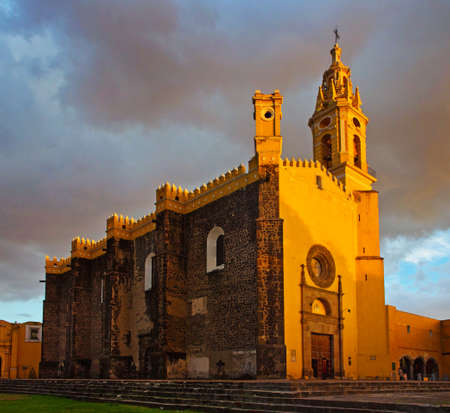 View of Convent of San Gabriel at sunset in Cholula, Mexico Editorial