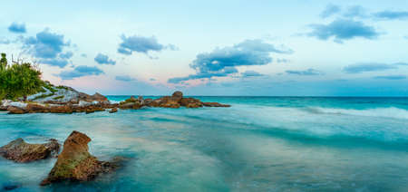 yucatan: Caribbean Sea at sunset. Yucatan, Mexico. Stock Photo