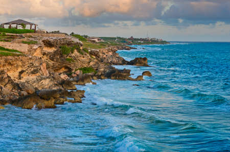Beautiful rocks at sunrise on the the southern part of the Isla Mujeres in Caribbean, Mexico
