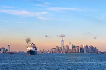 New York City, USA - October 11, 2016: Transatlantic ocean liner Queen Mary 2 in New York Harbor.
