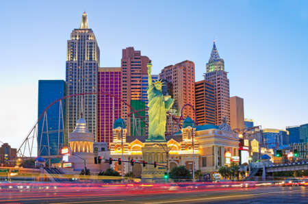Las Vegas, USA - May 28, 2017: New York-New York hotel casino and replica of the Statue of Liberty located on the Las Vegas Strip in Las Vegas, Nevada.