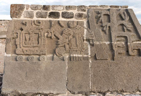 Temple of the Feathered Serpent in Xochicalco. Pre-Columbian archaeological site in Mexico.  UNESCO World Heritage Site Editorial