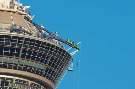 Las Vegas, USA - May 28, 2017: Rides on top of the Stratosphere Hotel in Las Vegas, Nevada.