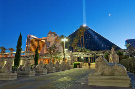 Las Vegas, USA - May 28, 2017: Luxor Las Vegas is a hotel and casino. Contains a replica of the Great Sphinx of Giza and a pyramid shaped building with a spotlight.