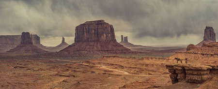 navajo land: Panoramic view of desert landscape with horse in Monument Valley, Monument Valley Navajo Tribal Park. USA Editorial