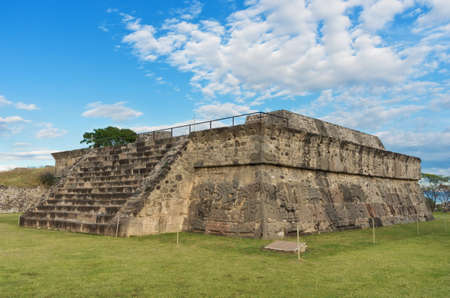 morelos: Temple of the Feathered Serpent in Xochicalco. Pre-Columbian archaeological site in Mexico.  UNESCO World Heritage Site Stock Photo