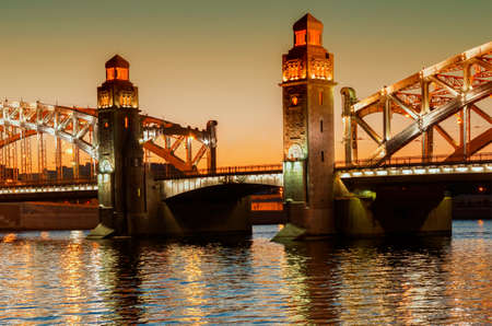 Bolsheohtinskiy bridge in St. Petersburg, Russia.