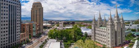 ソルト レイク シティ ダウンタウンには、ユタ州、アメリカのソルトレイクシティ、アメリカ合衆国 - 2017 年 5 月 19 日: 全景 報道画像