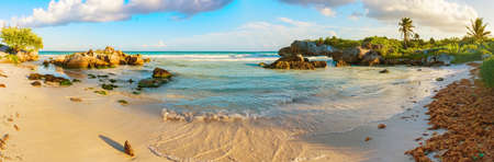 Tropical Sandy Beach on Caribbean Sea. Yucatan, Mexico. Stock Photo