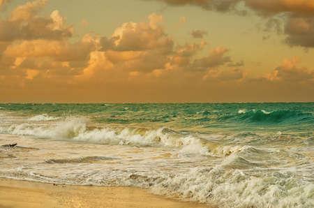 Landscape of Caribbean sea at sunset