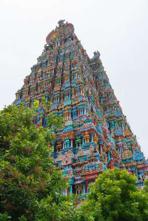 Reliëf van Menakshi Temple, Madurai in de staat Tamil Nadu in India Stockfoto