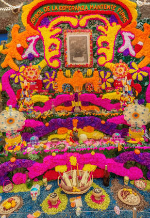 Coyoacan, Mexico - November 1, 2016: Day of the Dead Offering Altar in Blue House (Casa Azul), the Home of Frida Kahlo in Mexico Redakční