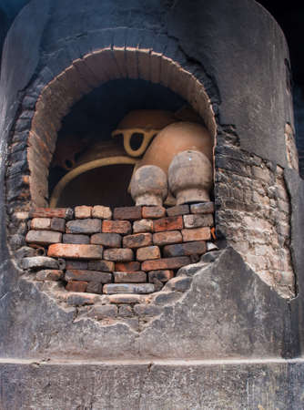 Pottery kiln in the pottery workshop in Puebla, Mexico