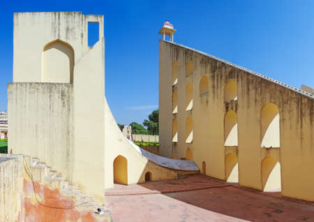 Ancient  astronomical observatory Jantar Mantar  in Jaipur, Rajasthan, India Stock Photo