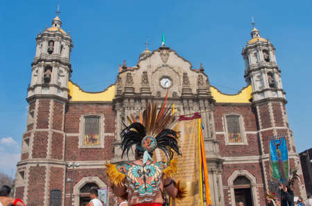 Mexico City, Mexico - December 12, 2016: Celebration of the Day of the Virgin of Guadalupe with a mass ceremony in her honor on square of Basilica of Our Lady of Guadalupe