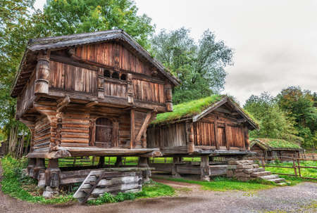 Traditional Norwegian House with grass roof. The Norwegian Museum of Cultural History, Oslo. Banco de Imagens - 88990377