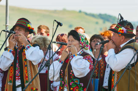 Turka, Ukraine - August 06, 2017: international boycos festival in Turka, Ukraine. Boykos or simply Highlanders (verkhovyntsi) are a Ukrainian ethnographic group located in the Carpathian Mountains of Ukraine.