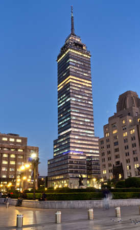 Mexico City, Mexico - November 28, 2016: View of Torre Latinoamericana ( Latin-American Tower) in Mexico City.