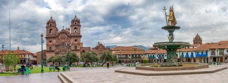 Cusco, Peru-March 17, 2015: Inca fountain on the Plaza de Armas in Cusco, Peru