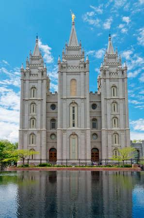 Salt Lake City, USA: Salt Lake Temple is a temple of The Church of Jesus Christ of Latter-day Saints (LDS Church) in Salt Lake City, Utah, USA 스톡 콘텐츠
