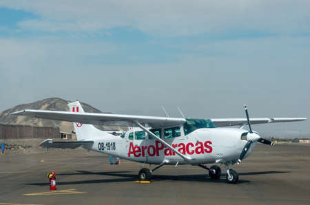 Nazca, Peru -13 April 2015: Tourist light aircraft in airport of Nazca, Peru Editorial