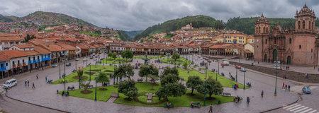 Cusco, Peru-March 18, 2015: Panoramic view of Plaza de Armas in Cusco, Peru