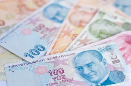 Turkish lira banknotes. close up money background