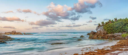 Panoramic view of landscape of Caribbean sea at sunrise
