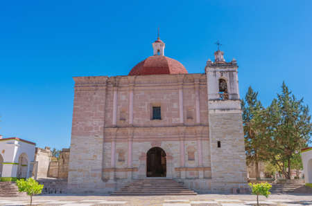 Church of Saint Paul (Iglesia de san Pablo) in Mitla, Oaxaca, Mexico. 스톡 콘텐츠