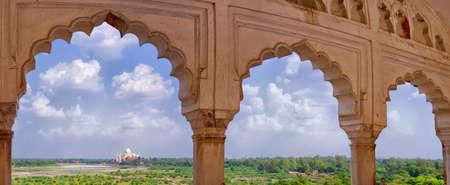 Panoramic view of Taj Mahal from Agra Fort in Agra, Uttar Pradesh, India