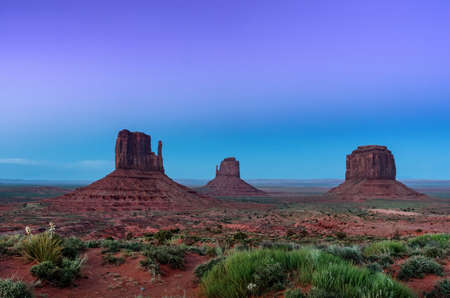 Night view in the Monument valley. Navajo tribal park, USA. Stock Photo
