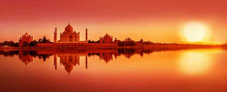 Panoramic view of Taj Mahal during sunset reflected in the Yamuna river, in Agra , Uttar Pradesh, India
