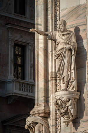 Milan, Italy - June 22, 2018: Outside decoration statues of Milan Cathedral (Duomo di Milano), Metropolitan Cathedral-Basilica of the Nativity of Saint Mary. Editorial