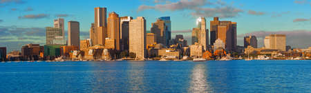 Panoramic view of Financial District and Harbor in Boston, Massachusetts, USA