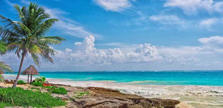 Tropical beach in caribbean sea, Yucatan, Mexico.