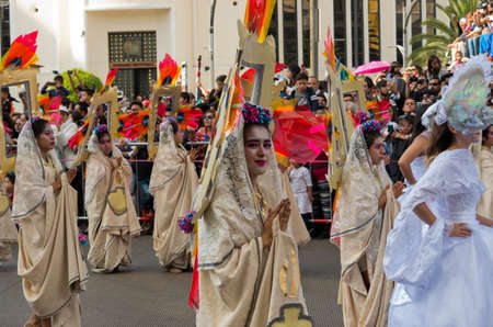 Mexico City - October 29, 2016 : Day of the dead parade in Mexico city. The Day of the Dead is one of the most popular holidays in Mexico.