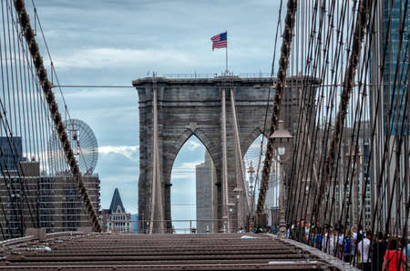 New York City, USA - July 21, 2018: Brooklyn Bridge in New York. USA