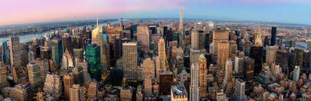 New York City at the night, Aerial panoramic view of Manhattan Skyline , USA 스톡 콘텐츠
