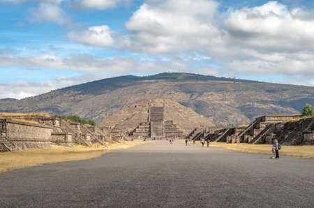 Pyramid of the Moon and the road of death in Teotihuacan, Mexico 写真素材