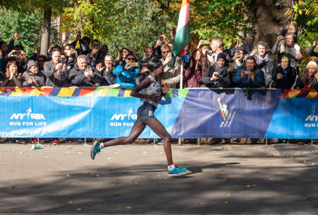 New York, USA - November 4, 2018: Annual New York City Marathon. Mary Keitany wins the women's Race.