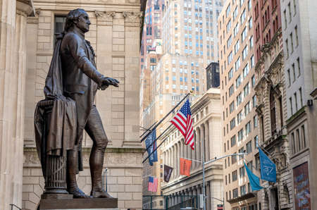 New York, USA - October 31, 2018: Washington Statue on the front of Facade of the Federal Hall , Wall street, Manhattan, New York City