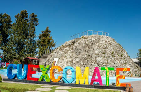 Puebla, Mexico - November 27, 2016: Cuexcomate is an inactive geyser in Puebla city, Mexico. The sinter cone that the geyser built up around its vent is 13 metres