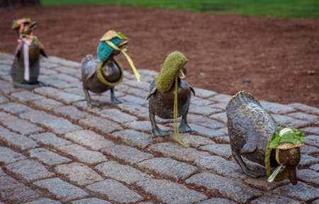 Boston, MA, USA - May 4, 2017: Bronze sculpture of Make Way for Ducklings in the Boston Public Garden. Editorial