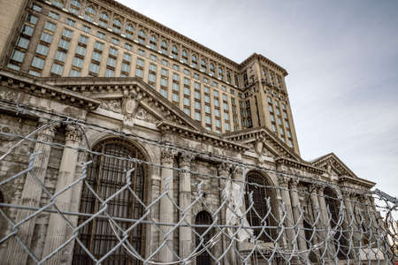The abandoned Michigan Central Station in Detroit, USA
