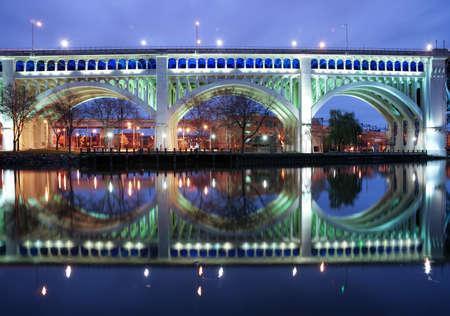 Detroit Superior Bridge over Cuyahoga River in Cleveland, Ohio, USA
