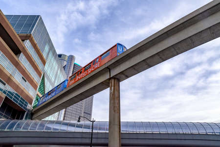 Detroit, Michigan, USA - November 23, 2018: The Detroit People Mover (DPM) is a 2.94-mile automated people mover system which operates on a single track, and encircles Downtown Detroit, Michigan.