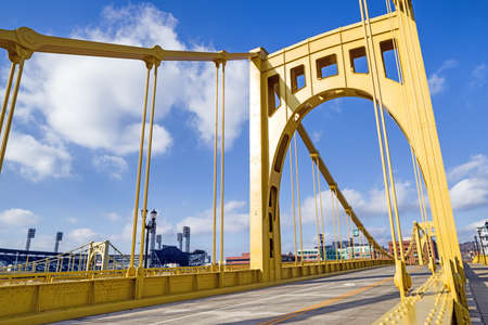 Andy Warhol Bridge, also known as the Seventh Street Bridge, spans the Allegheny River in Downtown Pittsburgh, Pennsylvania, USA