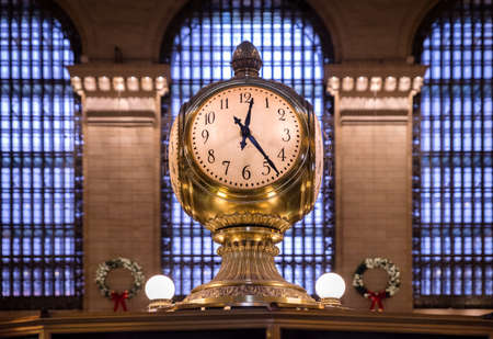 New York, USA, - December 1, 2018: Clock over the information booth in the great hall in Grand Central Terminal , New York ,USA