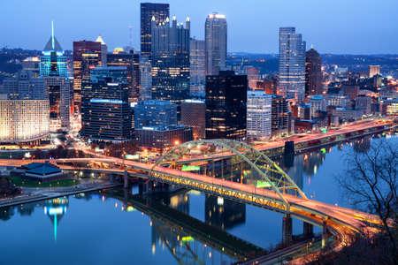 Night view of Pittsburgh. Pittsburgh, Pennsylvania, USA